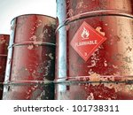 flammable barrels isolated on white background - stock photo