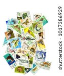 a collage of postage stamps on... | Shutterstock . vector #1017386929