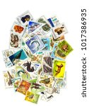 a collage of postage stamps on... | Shutterstock . vector #1017386935