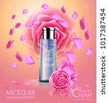 luxury cosmetic bottle package...   Shutterstock .eps vector #1017387454
