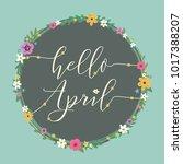 hello april vector spring...   Shutterstock .eps vector #1017388207