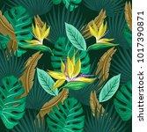 vector seamless tropical... | Shutterstock .eps vector #1017390871