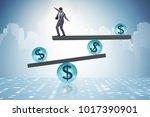 businessman balancing in... | Shutterstock . vector #1017390901