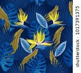 vector seamless tropical... | Shutterstock .eps vector #1017391375
