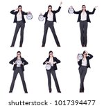 businesswoman with clock in... | Shutterstock . vector #1017394477