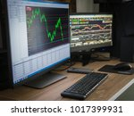 Small photo of The desk of speculator investor. There are two monitor.