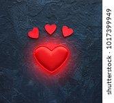 red hearts close up on dark... | Shutterstock . vector #1017399949