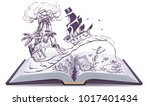 open book about pirates and... | Shutterstock .eps vector #1017401434