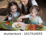 happy family mother and kids... | Shutterstock . vector #1017414055