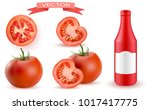 tomato and slice isolated on... | Shutterstock .eps vector #1017417775
