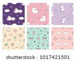 cute seamless patterns with... | Shutterstock .eps vector #1017421501