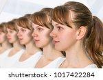 a lot of women in a row  ... | Shutterstock . vector #1017422284