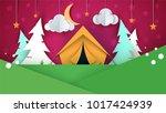 cartoon paper landscape. tent ... | Shutterstock .eps vector #1017424939