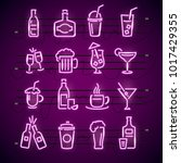 bar neon signs thin line icon... | Shutterstock .eps vector #1017429355