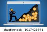 illustration of bitcoin virtual ... | Shutterstock . vector #1017429991