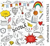 set of colorful doodle on paper ... | Shutterstock .eps vector #1017431761