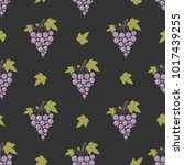 seamless pattern with grapes... | Shutterstock .eps vector #1017439255