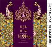 wedding invitation card... | Shutterstock .eps vector #1017451849