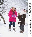 winter. cute children having... | Shutterstock . vector #1017456931