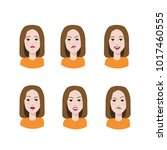 set of woman's emotions. facial ... | Shutterstock .eps vector #1017460555
