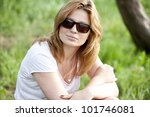 blond girl in sunglasses at the ... | Shutterstock . vector #101746081