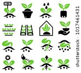 growing sprout flat icon with... | Shutterstock .eps vector #1017461431