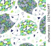 seamless pattern with cute... | Shutterstock .eps vector #1017461497