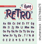 retro handwritten alphabet... | Shutterstock .eps vector #1017466675
