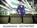 stewardess and airport.  | Shutterstock . vector #1017467005