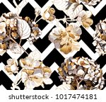 floral seamless pattern with... | Shutterstock .eps vector #1017474181