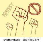 protest poster on creme... | Shutterstock .eps vector #1017482575