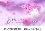 beautiful woman with spring... | Shutterstock .eps vector #1017487687