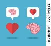 mutual love brain and heart on... | Shutterstock . vector #1017490561