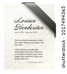 funeral card template with... | Shutterstock .eps vector #1017494365