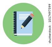 spiral book and pencil vector | Shutterstock .eps vector #1017497599