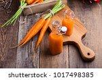 freshly squeezed carrot juice...   Shutterstock . vector #1017498385