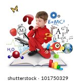 a young boy is sitting on a big ... | Shutterstock . vector #101750329