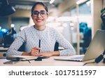 portrait of cheerful... | Shutterstock . vector #1017511597