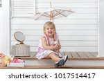 little girl play in the beauty...   Shutterstock . vector #1017514417