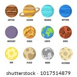 colorful planets set. vector... | Shutterstock .eps vector #1017514879