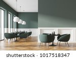 green and white cafe interior... | Shutterstock . vector #1017518347