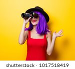 portrait of young style hipster ... | Shutterstock . vector #1017518419