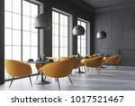 Stock photo black cafe corner with a concrete floor round black tables and yellow chairs d rendering mock up 1017521467
