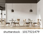 white cafe interior with a... | Shutterstock . vector #1017521479
