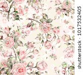 watercolor seamless rose... | Shutterstock . vector #1017532405