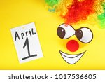 rainbow wig  clown nose and...   Shutterstock . vector #1017536605