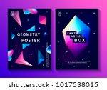 set of abstract trendy cosmic... | Shutterstock .eps vector #1017538015