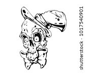 illustration of skull wearing...   Shutterstock .eps vector #1017540901