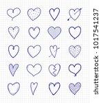 cute heart doodles   collection ... | Shutterstock .eps vector #1017541237