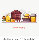 apiary and beekeeping lifestyle ... | Shutterstock .eps vector #1017541471
